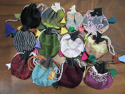 x 4 Random Handmade Recycled Fabric Nepalese Small Thaily Bag Pouch