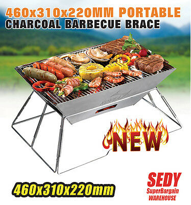 460 BBQ Grill Barbecue Portable Stainless Steel Camping Picnic Charcoal