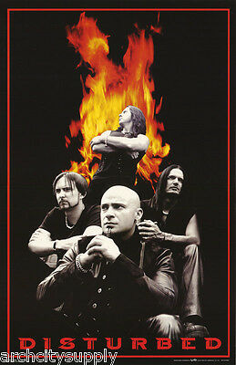 Poster : Music:  Disturbed - Group W/flames -  Free Shipping Vv #6234   Lc24 O