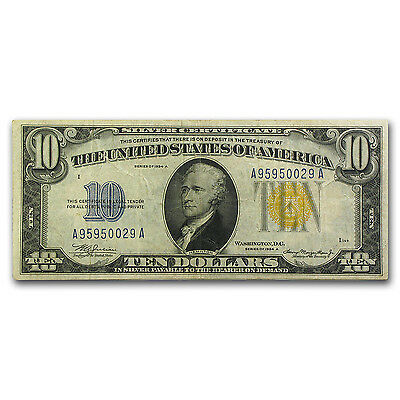 1934-A $10 Silver Certificate Yellow Seal-North Africa VF+ - SKU #89378