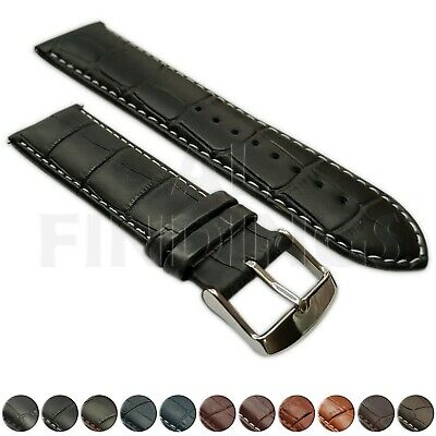 Genuine Leather Mock Croc Watch Strap Band Mens Crocodile Padded SS Buckle