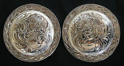 """2 - 2"""" Silver Hand Engraved Western Conchos                                  #67"""