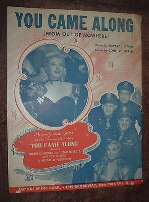 """Sheet music  """"You Came Along From Out of Nowhere""""  from movie by same name  1931"""