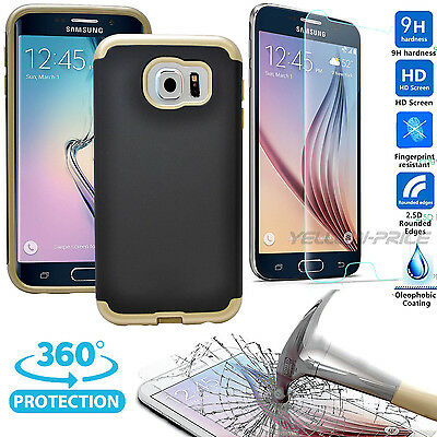 For Samsung Galaxy S6 Case, [100% REAL Glass Film] Dual Layer Hybrid Armor Cover