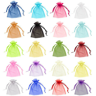 100 Organza Bags Jewellery Storage Pouches Mesh Party Drawstring Gift Making UK