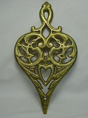 Old Vtg Wilton Brass Metal Trivet Spoon Rest Spade Heart Hearth Kitchen Tool
