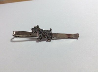 STERLING SILVER DOG JEWELRY TIE BAR CLIP SCOTTISH TERRIER SCOTTIE SCOTTY Reduced
