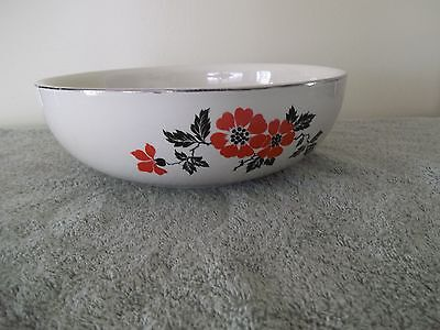 "Red Poppy Design 9"" X 3""  Serving Dish/Bowl By Hall Superior"