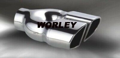 """Dual twin oval Exhaust tip angle cut rolled stainless steel tailpipe 2.4"""" inlet"""