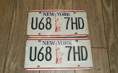 NEW YORK NY STATUE OF LIBERTY GRAPHIC LICENSE PLATE PAIR  NICE