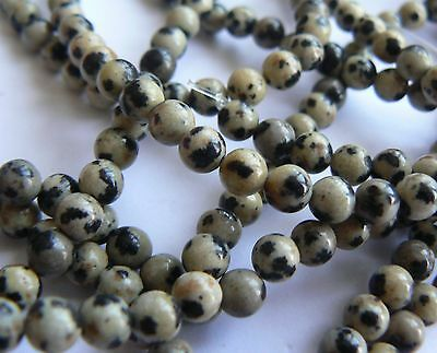 No P&P Natural Stone Dalmation Jasper 4mm Rounds on 7.5 inch strand, 40+ beads