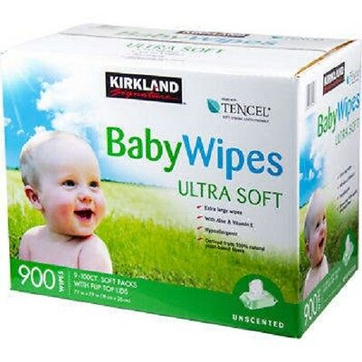 Kirkland Signature Baby Wipes Tencel 900 ct - Ultra Soft Alcohol & Dye Free