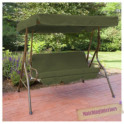 Olive Splashproof 2 Seater Garden Hammock Swing Seat Canopy Cover & Cushion Set