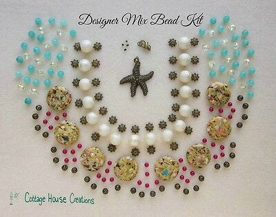 Sandy Shores Beach Theme Designer Mix Bead Kit Jewelry Making Supply Lot