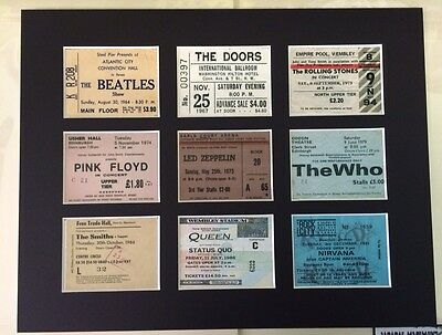 """CLASSIC ROCK TICKET MOUNTED PICTURE14"""" By 11"""" READY TO FRAME BEATLES SMITHS WHO"""