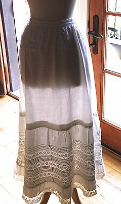 Antique edwardian White Cotton & Lace Skirt Petticoat with Pin tucks Large 40 w