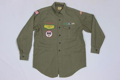 50s 60s Vintage BSA Boy Scouts West Long Ranch Patches Wool Shirt