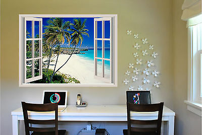 Beach & Palm Trees Window View Repositionable Color Wall Sticker Wall Mural 3 FT