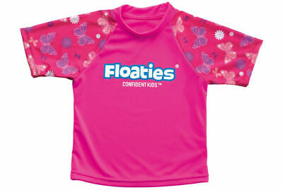 Girls Butterfly Swimming Rash Vest/Rashie Protects Against Sun for Beach/Pool