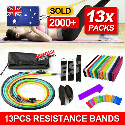 13pcs Resistance Set Yoga Pilates Abs Latex Exercise Fitness Tube Workout Bands