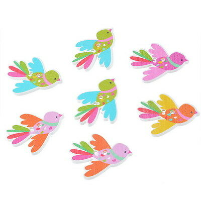 50PCs Wooden Buttons Bird Shaped Randomly Mixed 2-hole Sewing Scrapbooking