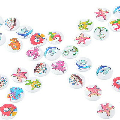 50PCs Hot Wooden Buttons Sea Animals Series Randomly Mixed Sewing Scrapbooking