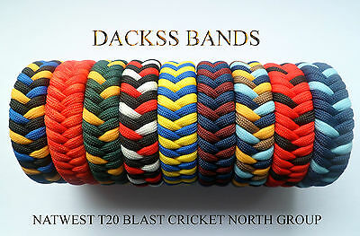 Cricket NatWest T20 North Group Teams Hand Made 550 Paracord WristBand Bracelet