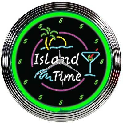 New neon clock sign  It's 5:00 on Island Time at least it is somewhere tropical