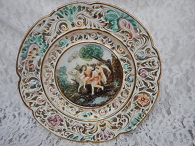 Vintage GB R Capodimonte signed R S Marino 3684 wall plate 9.20 inches