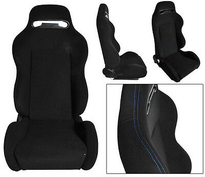 New 1 Pair Black Cloth + Blue Stitch Racing Seats All Ford **