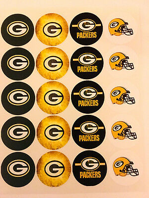 """SET of 20- 2"""" GREEN BAY PACKERS ADHESIVE STICKERS.Make Birthday Cupcake Toppers"""