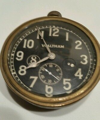 Vintage Antique Automobile Car Clock - Waltham 8 day Works tested for 2 days