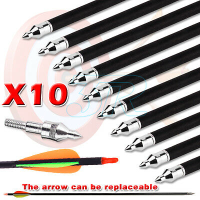"10x 32"" Fibreglass Arrows Target Hunting Compound Recurve Bow 15-80lb Screw Tip"
