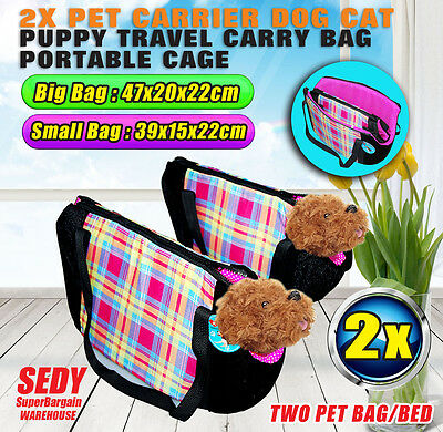 2pc Puppy Carrier Dog Cat Pet Travel Carry Warm Bag Bed Cage Size Small & Large