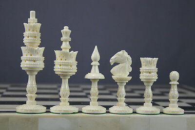 Hand carved Lotus camel bone chess set pieces Indian Artistic CHESSNCRAFTS INDIA