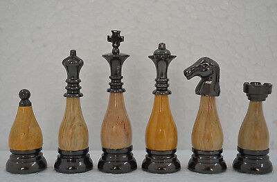 "Brass chess pieces set  with wooden combo king  3.5"" SLEEK COMBO SET"