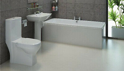 Cubic Modern Complete Full Bathroom Suite with Taps Toilet Basin and Wastes New
