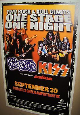 KISS and AEROSMITH in Concert Show Poster Denver Co Two Rock & Roll Giants COOL