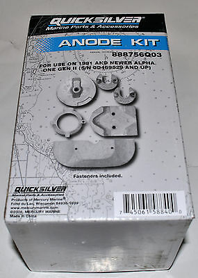 Quicksilver Anode Kit 888756Q03 For use on 1991 and Newer Alpha One Gen II