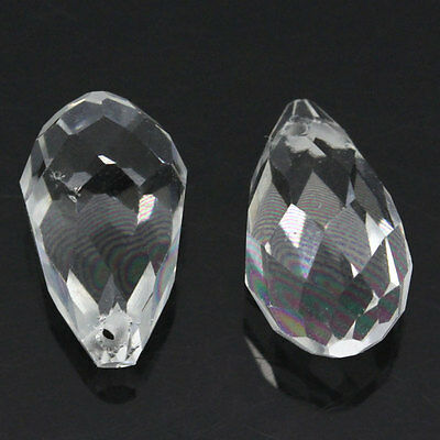 10 CLEAR TEARDROP FACETED CRYSTAL GLASS PENDANTS ~8x13mm~ Earrings~Chains (25E)