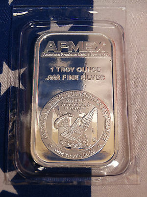 APMEX American Eagle Uncirculated 1oz Troy .999 Fine Solid Silver Bullion Bar A1