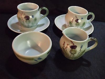 6 PIECE BUCHAN THISTLEWARE SUGAR & CREAMER, COFFE CUPS AND SAUCERS, EXCELLENT