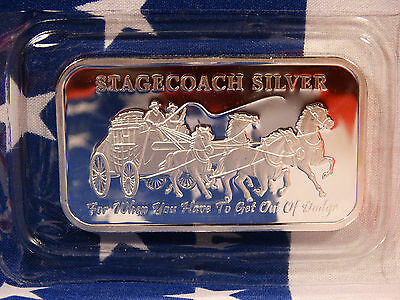 Sealed NWT Stagecoach 1 oz Troy .999 Fine Solid Silver Divisable Bar USA Lot A2