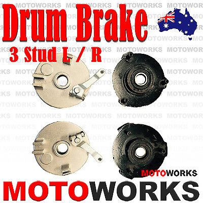 Pair 3 Stud Drum Brake Housing Wheel Hub + Shoes FOR ATV QUAD Bike Gokart Buggy