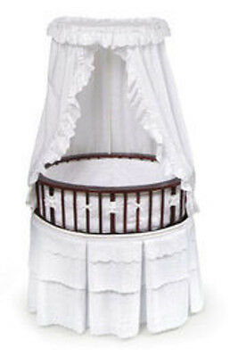 Badger Basket Cherry Elite Oval Bassinet with White Eyelet Bedding 00856  New