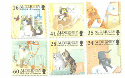 Alderney-cats set of 6 mnh