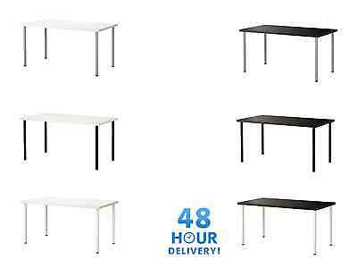DESK COMPUTER TABLE IKEA LINNMON OFFICE WHITE STABLE HOME RECTANGULAR WORK 100cm