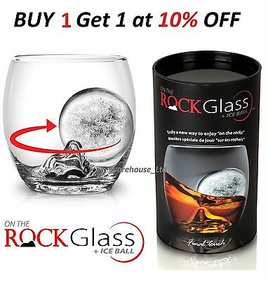Whiskey Glass and Ice Cube Ball Mould Final Touch On The Rock Gift Boxed