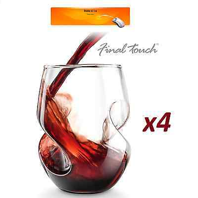RED WINE Aerating GLASSES Final Touch 4x Conundrum Hand Blown Stemless 473ml NEW