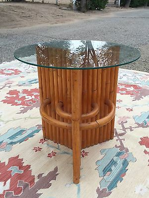 Mid Century Rattan Side Table with Glass Top